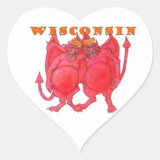 Demonios de Wisconsin Cheesehead Pegatina En Forma De Corazón