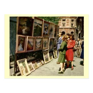 Demostración de arte, Greenwich Village, vintage Postal