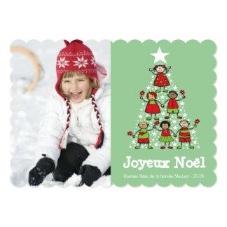D'enfants de voeux de Noël Arbre de Noël de la Invitación 12,7 X 17,8 Cm