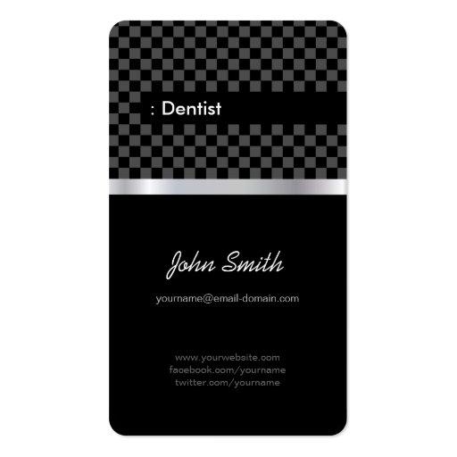 Dentista - a cuadros negro elegante tarjeta de visita