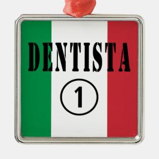 Dentistas italianos: Uno de Dentista Numero Adorno Cuadrado Plateado