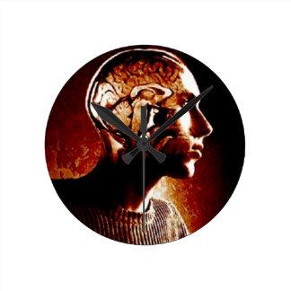 Dentro de mi cabeza, mostrando actividad cerebral reloj redondo mediano