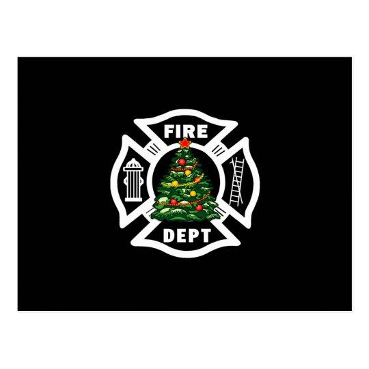 Departamento del fuego del navidad postal