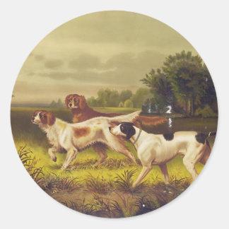 Deporte de los perros de caza en julio por Hoover Pegatina Redonda
