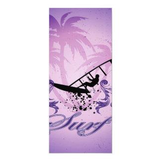 Deporte, Surfboarder en el fondo violeta Invitación 10,1 X 23,5 Cm