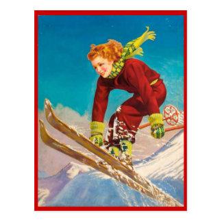 Deportes de invierno del vintage, esquí cuesta postal