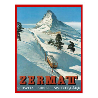 Deportes de invierno del vintage, esquí Zermatt, Postal