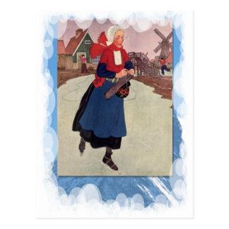 Deportes de invierno del vintage - patinando en el postal