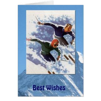 Deportes de invierno - vintage que compite con tarjeta de felicitación