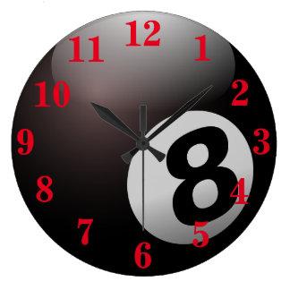 Deportes de la bola de la piscina ocho reloj redondo grande