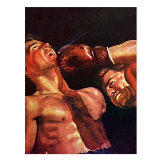 Deportes del vintage, boxeadores en un combate de postal