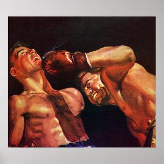 Deportes del vintage, combate de boxeo de los póster