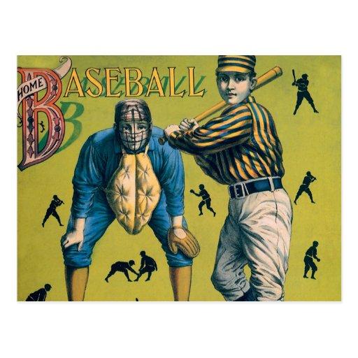Deportes del vintage, juego de béisbol casero tarjetas postales