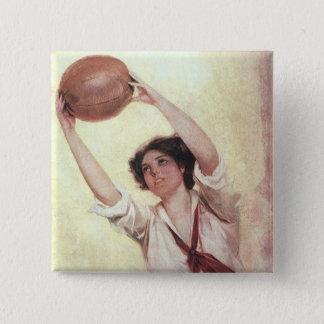 Deportes del vintage, jugador de básquet de la chapa cuadrada