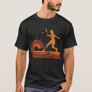 Deportes retros de la silueta del jugador de tenis camiseta