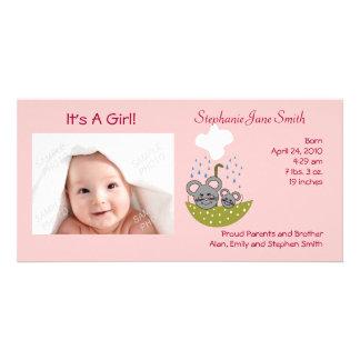 Derramamiento de tarjetas de la foto del bebé de tarjetas fotográficas personalizadas
