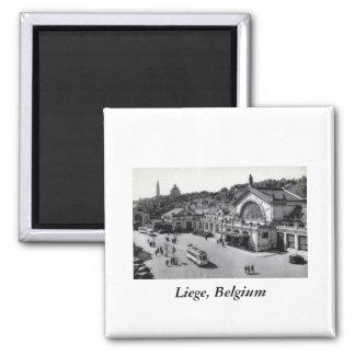 DES Guillemins, vintage de Gare de Lieja Bélgica Iman De Nevera