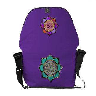 DES Lebens de Blume - violett de los türkis de Bolsa De Mensajeria