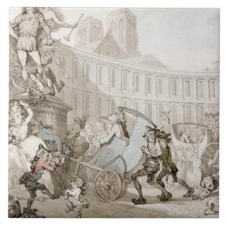 DES Victoires, París, c.1789 del lugar del La (plu Azulejos Cerámicos