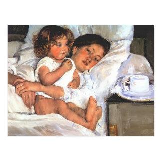 Desayuno de Maria Cassatt- en cama Postal
