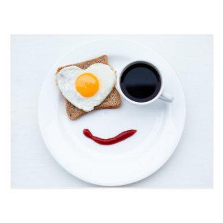 Desayuno feliz de la cara postal