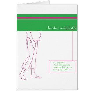 Descalzo y embarazada tarjeta de felicitación
