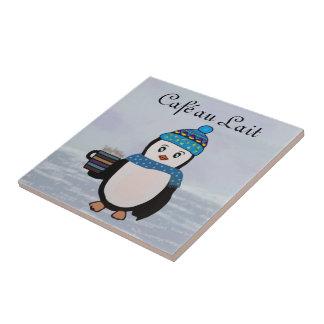 Descanso para tomar café del pingüino azulejo de cerámica