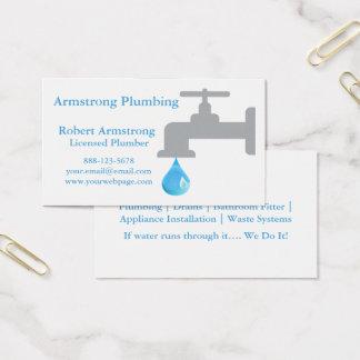 Descenso del agua del grifo del fontanero tarjeta de visita