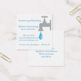 Descenso del agua del grifo del fontanero tarjeta de visita cuadrada