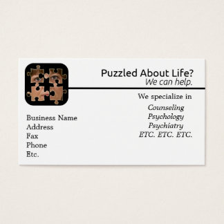 Desconcertado sobre tarjeta de visita de vida