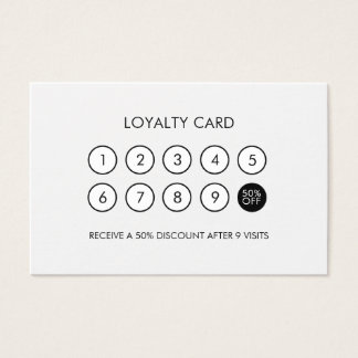 Descuento moderno minimalista de la lealtad blanco tarjeta de visita