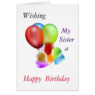 Deseando a mi hermana feliz cumpleaños tarjeta de felicitación