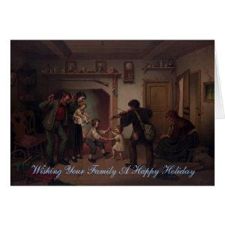 Deseando a su familia al día de fiesta feliz tarjeta de felicitación