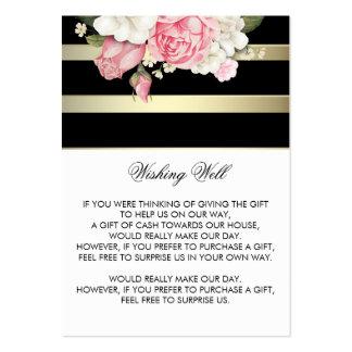 Deseando el oro floral bien de las rayas blanco y tarjetas de visita grandes
