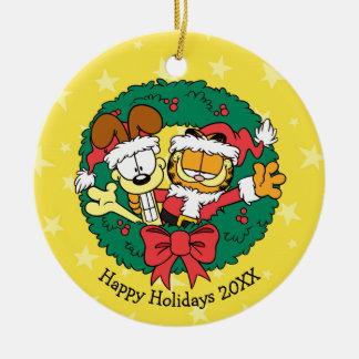 Deseándole el mejor de la estación adorno navideño redondo de cerámica