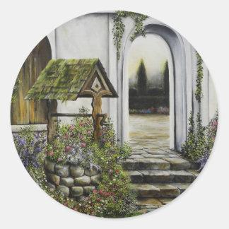 Desear el ~Oil bien Painitng del jardín Pegatina Redonda