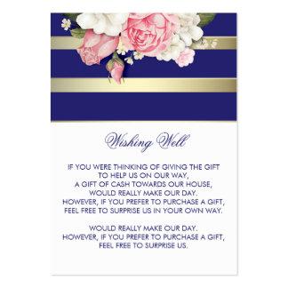 Desear la marina de guerra floral bien y el blanco tarjetas de visita grandes