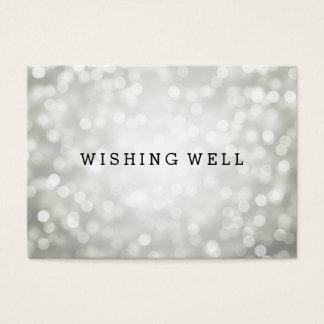 Desear luces de plata bien del brillo tarjeta de negocios