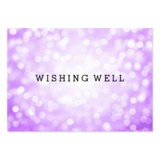 Desear luces púrpuras bien del brillo tarjetas de visita grandes