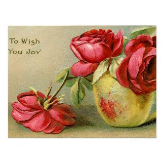 Deséele el vintage de la alegría postal floral