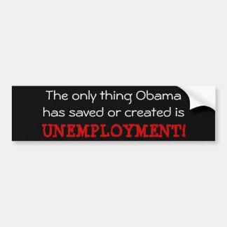 Desempleo de Obama Pegatina De Parachoque