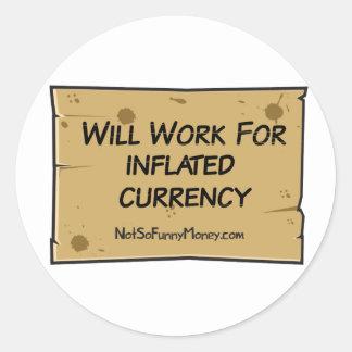 Desempleo divertido - moneda inflada pegatina redonda