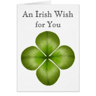Deseo del irlandés para usted tarjeta del trébol