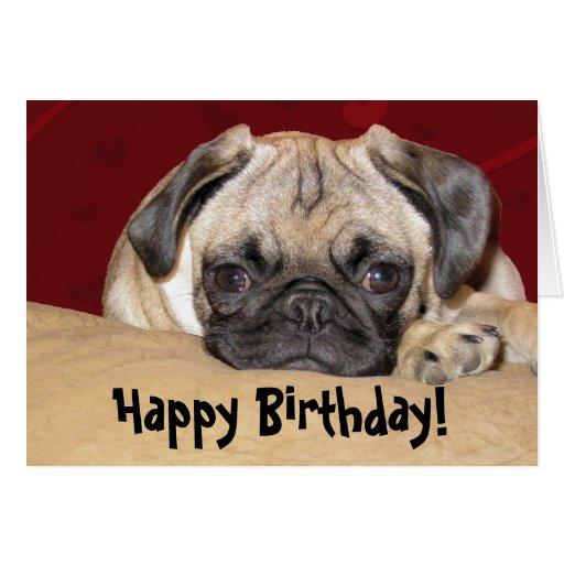 Deseo lindo del cumpleaños del perrito del barro a tarjetón