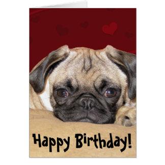 Deseo lindo del cumpleaños del perrito del barro a tarjeta de felicitación