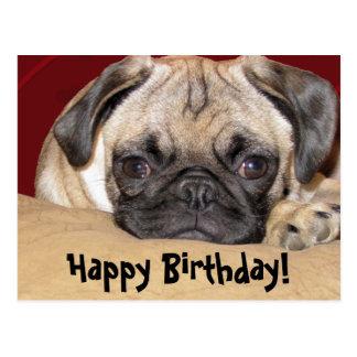 Deseo lindo del cumpleaños del perrito del barro a postal