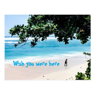 Deseo usted estaba aquí en la postal de la playa