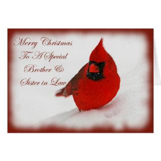 Deseos Brother cardinal del navidad y cuñada Tarjeta De Felicitación