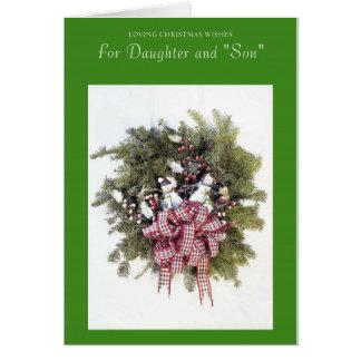 Deseos cariñosos del navidad para la hija y el hij tarjeta de felicitación
