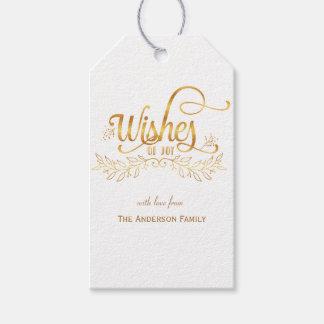 Deseos de las etiquetas del regalo del oro de la etiquetas para regalos